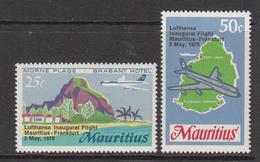 1970 Mauritius Inaugural Lufthansa Flight Planes Over Map, Beach Set Of 2 MNH - Mauritius (1968-...)