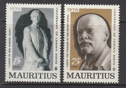 1970 Mauritius 100th Anniv Of Birth Of Lenin Set Of 2 MNH - Mauritius (1968-...)
