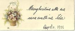 """1995 """" BIGLIETTO AUGURALE- ANNI '20 - CESTINO DI FIORI """" BIGLIETTO ILL. ORIG. - Vecchi Documenti"""