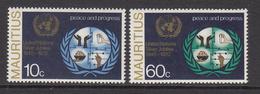 1970 Mauritius 25th Anniv Of United Nations Emblem & Symbols Of UN Activities Set Of 2 MNH - Mauritius (1968-...)