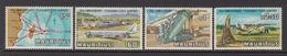 1971 Mauritius 25th Anniv Plaisance Airport, Map, Plane, Airfield Set Of 4 MNH - Mauritius (1968-...)