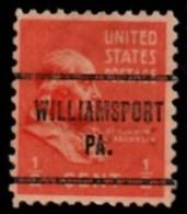 "USA Precancel Vorausentwertung Préo Local ""WILLIAMSPORT (PA). - Etats-Unis"
