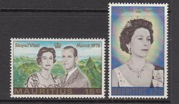1972 Mauritius Visit Of QEII & Prince Phillip Set Of 2 MNH - Mauritius (1968-...)