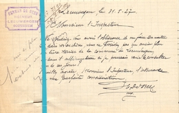 Brief Lettre - Notaris Herman De Beer Leeuwergem Zottegem - Naar Kadaster 1927 + Brief Met Antwoord - Vieux Papiers