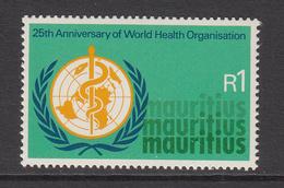 1973 Mauritius 25th Anniv Of WHO Emblem  Set Of 1 MNH - Mauritius (1968-...)