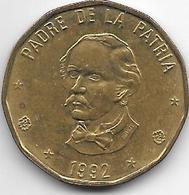 *dominican Republic 1 Peso 1992 Km 80.1  Xf+ - Dominicaine