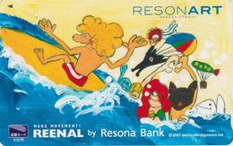 Carte Prépayée Japon - Banque RESONA BANK Dauphin Dolphin Surf MONTGOLFIERE - Balloon Sport Japan Prepaid Tosho Card 232 - Dolphins
