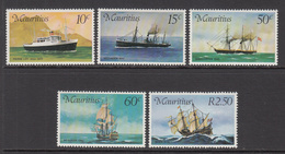 1976 Mauritius Ships Sail, Steam, Coal Set Of 5 MNH - Mauritius (1968-...)