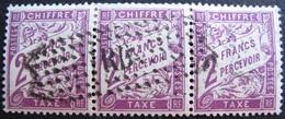 R1703/656 - 1893 - TIMBRES TAXE - (BANDE DE 3 TIMBRES) N°42 ☉ Oblitération Spéciale - Taxes