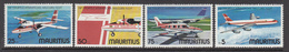1977 Mauritius Inaugural Flight National Carrier, Various Aircrafts Set Of 4 MNH - Mauritius (1968-...)