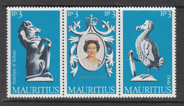 1978 Mauritius 25th Anniv Of QEII Coronation Strip Of 3 Dodo, QEII & Antelope MNH - Mauritius (1968-...)
