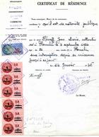 """Timbre Fiscal:  Timbre Fiscal Type """"Série Unifiée"""" Sur Document """"certificat De Résidence"""" - Fiscales"""