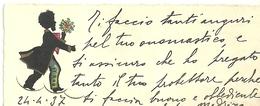 """2002 """" BIGLIETTO AUGURALE- ANNI '30 -  FIGURA IN NERO PORTATRICE DI FIORI-24/4/1937 """" BIGLIETTO ILL. ORIG. - Vecchi Documenti"""