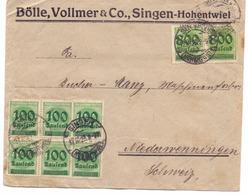 Allemagne Lettre Affranchie De 15.000 Marks - Oblitérée Singen 1923 - Storia Postale