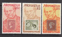 1978 Mauritius Rowland Hill Originator Of Penny Postage Set Of 3 MNH - Mauritius (1968-...)