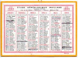 Calendrier Cartonné 1964. Etude Généalogique Maillard, Paris - Calendriers