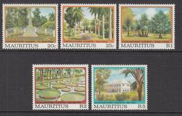 1980 Mauritius Pamplemousse Botanical Gardens Obelisk, Giant Lillies, Avenues Set Of 5  MNH - Mauritius (1968-...)