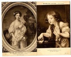 GREUZE JEAN BAPTISTE  -  MUSEE DU LOUVRE   -  2 CARTES ANCIENNES - Peintures & Tableaux