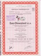 Euro Disneyland S.C.A.  Eurodisney,aandeel Met Coupons Coupure Van 100,EURO DISNEY - Tourism