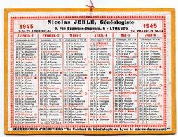 Calendrier Cartonné 1945. Nicolas Jehlé, Généalogiste. Lyon. - Petit Format : 1941-60