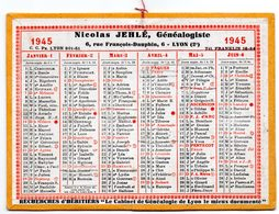 Calendrier Cartonné 1945. Nicolas Jehlé, Généalogiste. Lyon. - Calendars