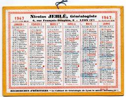 Calendrier Cartonné 1947. Nicolas Jehlé, Généalogiste. Lyon. - Calendars