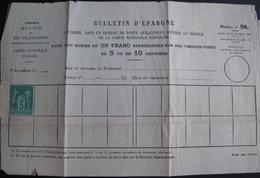 R1703/659 - SAGE TYPE II N°75 (*) Sur Bulletin D'épargne Du Ministère Des Postes - 1876-1898 Sage (Type II)