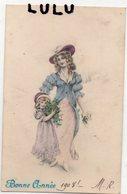 FEMMES 671 : Bonne Année 1908 , Beau Dessin : édit. Logo Au Dos - Women