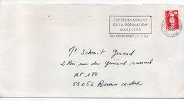 1990--lettre De PARIS 9 ROCHECHOUARD Pour REIMS-51--cachet Flamme 32ème Recensement De La Population MARS 1990 - Marcophilie (Lettres)
