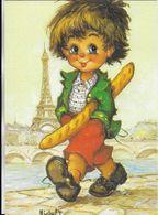 """ILLUSTRATEUR MICHEL THOMAS """"LES PETITS"""" N° 113  EDIT. PRAM  GAMIN DE PARIS ET SA BAGUETTE DE PAIN TOUR EIFFEL - Thomas"""