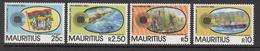 1983 Mauritius  Commonwealth Day Flag, Sugar Cane, Harbour, Satellite View Set Of 4  MNH - Mauritius (1968-...)
