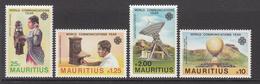 1983 Mauritius Communications Year Antique Telephone, Satellite, Balloon, Comms. Equipment Set Of 4  MNH - Mauritius (1968-...)