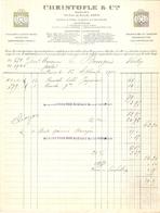FACTURE 1912 ORFEVRERIE CHRISTOFLE & Cie 56 RUE DE BONDY PARIS - USINE SAINT DENIS CARLSRUHE MAORATION HAUSSE DES MÉTAUX - France