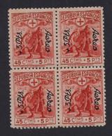 España 1938. Cruz Roja. Correo Aereo. Sobrecarga 3 Pts En Bloque De 4. Ed 768. MNH. **. - 1931-50 Nuevos & Fijasellos