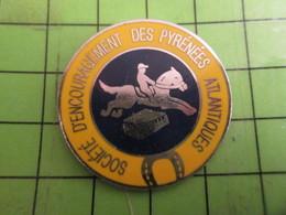 812c Pins Pin's / Rare & De Belle Qualité  THEME : ANIMAUX / CHEVAL SOCIETE D'ENCOURAGEMENT DES PYRENEES ATLANTIQUES - Animals