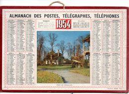 Calendrier Cartonné Almanach Des PTT 1954. Parc De Versailles, Le Hameau De La Reine. - Calendriers