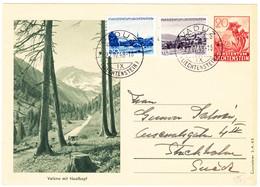 1948 Ganzsachenkarte Mit Zusatzfrankatur Gelaufen Von Vaduz Nach Stockholm - Entiers Postaux