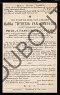 Doodsprentje Maria Theresia Van Ermengen /echtg. Petrus F. Coppens °1827 Begijnendijk †1899 Westmeerbeek (F182) - Décès