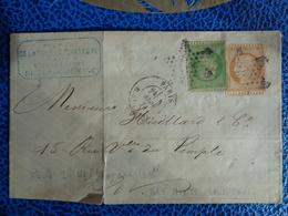 SUR LETTRE N° 35 NAPOLEON & 36A CERES OBLITERATION ETOILE - 1870 Siege Of Paris
