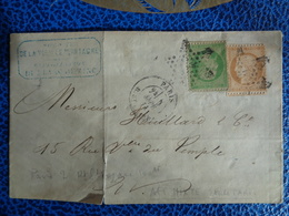 SUR LETTRE N° 35 NAPOLEON & 36A CERES OBLITERATION ETOILE - 1870 Assedio Di Parigi
