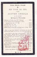 DP EZ Ursula Valcke - Zr. Ursula ° Eeklo 1852 † Klooster Josephienen Gent 1913 - Images Religieuses