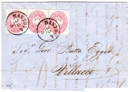 1865 Brief Von Mantova Nach Villacco Österreich Mit 5s (3) Frankiert - Lombardy-Venetia