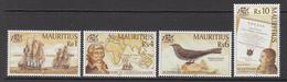 2001 Mauritius Bicentenary Of Nicholas Baudin Tall Ships, Map Bonaparte Text Set Of 4  MNH - Mauritius (1968-...)