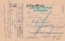 Feldpostkarte Avec Cachet Rhein Jäger-Batl. No 8. / 4. Kompagnie Du 23.8.15 Adressée à Berlin - Postmark Collection (Covers)
