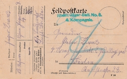 Feldpostkarte Avec Cachet Rhein Jäger-Batl. No 8. / 4. Kompagnie Du 23.8.15 Adressée à Berlin - Poststempel (Briefe)