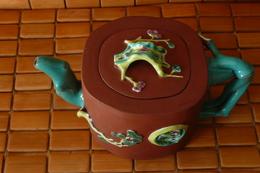 CHINE  Qing- Théière émaillée Bambou Turquoise Sigilée YiXing / Zisha 0,65 L - Art Asiatique