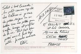 Beau Timbre , Stamp Sur Cp , Carte , Postcard DU 23/03/2002 - Maldives (1965-...)