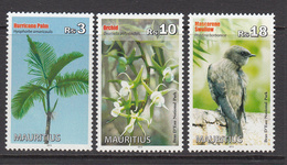 2013 Mauritius Flora & Fauna Palm Tree, Swallow, Orchids Set Of 3  MNH - Mauritius (1968-...)