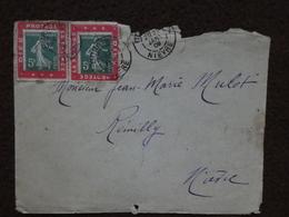 """P67 Porte Timbre X 2 """"Dieu Protège La France"""" Sur Enveloppe 29 Janvier 1909 Corbigny Nièvre Semeuse 5c Vert N° 137 - Marcofilie (Brieven)"""