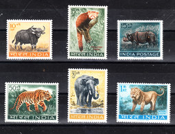 India - 1962-63.Bufalo, Rinoceronte, Tigre, Elefante, Leone. Buffalo, Rhinoceros, Tiger, Elephant, Lion.MNH Complete Set - Rinoceronti